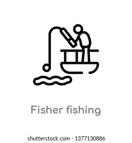 fisher fishing vector line icon. Simple element illustration. fisher fishing outline icon from sports concept. Can be used for web and mobile