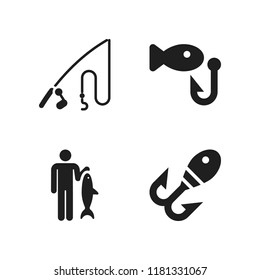 fisher icon. 4 fisher vector icons set. fishing icons for web and design about fisher theme