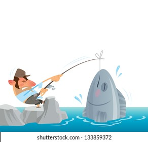 A fisher man fighting to get out of the sea a big fish