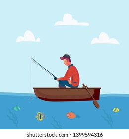 Fisher man holding fishing rod, season fishing. Vector character on holiday, trip. illustration. Flat cartoon design style.