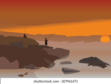 fisher man on the rock