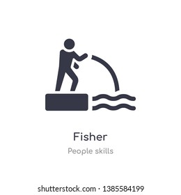fisher outline icon. isolated line vector illustration from people skills collection. editable thin stroke fisher icon on white background