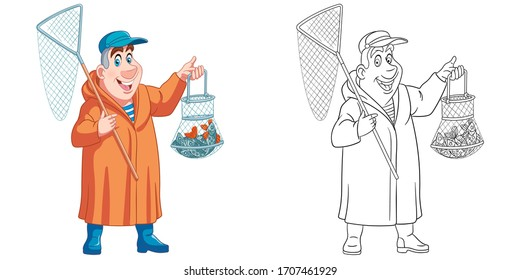 Fisherman with bag full of catched fish. Coloring page and colorful clipart character. Cartoon design for t shirt print, icon, logo, label, patch or sticker. Vector illustration.