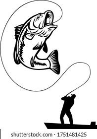 Fisherman Bass Fishing Catching Largemouth Jumping Up  Black and White Retro