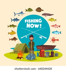 Fisherman with big fish catch. Vector fishing camp with tent, fire and boat. Set of fishing rod and tackle, camping supplies and fishes salmon or trout, carp and pike, lobster and sheatfish