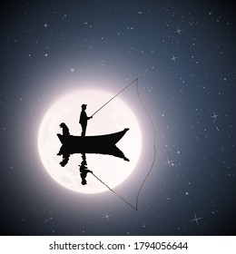 Fisherman in boat with dog on moonlight night. Man silhouette catch fish with fishing rod on mirror lake. Full moon in starry sky. Vector illustration for use in polygraphy, textile, design, decor