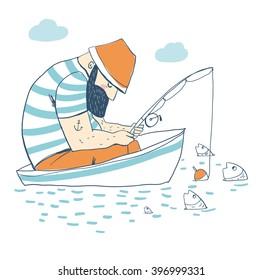 Fisherman in a boat fishing: rod, fish, anchor, water, beard.