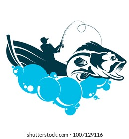 A fisherman in a boat is fishing, a symbol for fishing