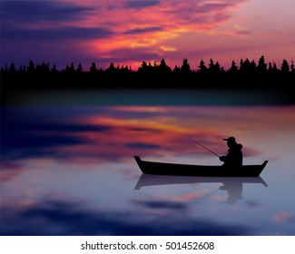 Fisherman in a boat on the river. Sunset landscape