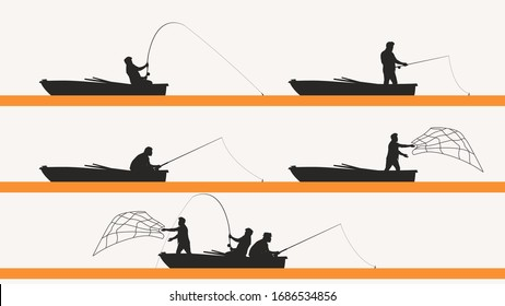 fisherman in boat silhouette set