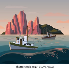 Fisherman boat at storm. Sunset at sea or ocean, river or lake with fishing trawler. Mountains near marine ship or nautical transport. Seafood and transportation, fishery and transport theme