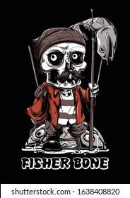 Fisherman bone skull fish mascot illustration tshirt