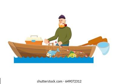 Fisherman cartoon man vector illustration