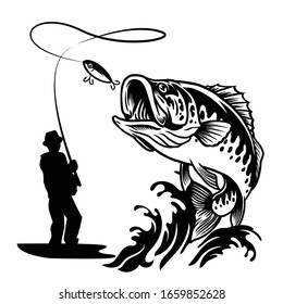 fisherman catching the big largemouth bass fish in black and white style