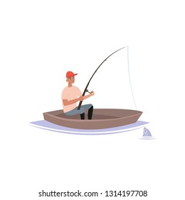 Fisherman Caught Fish with Fishing Rod, Male Fisher Character Sitting on Inflatable Boat Vector Illustration