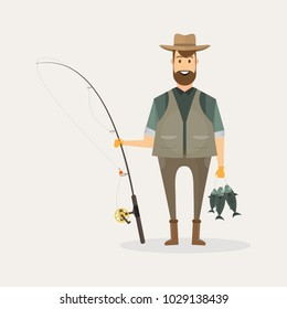 Fisherman character holding a big fish and a fishing rod with lake and river landscape. Cartoon vector illustration.