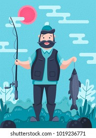 Fisherman character holding a big trout and a fishing rod. Cartoon vector illustration. Flat landscape. Bank of the river