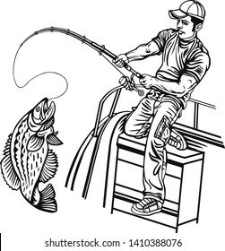 Fisherman and Crappie fish - Freshwater sport fish