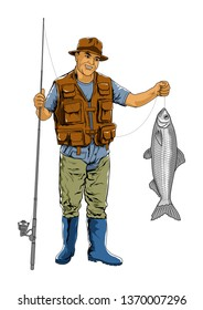 fisherman with the fish