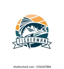 Fisherman or fish icon. Trout fishing. Fisherman with big fish
