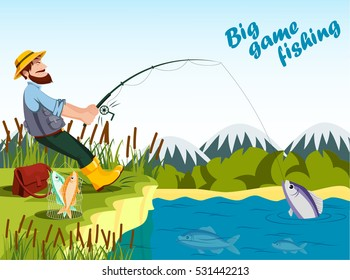Fisherman fishing at lake with rod and catching fish. Sport outdoor man leisure or relaxation at his hobby, bucket with fish and reed, mountain landscape. Hobby of old fisherman illustration