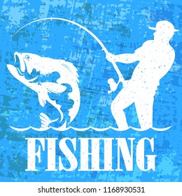 Fisherman with a fishing rod banner
