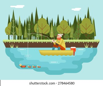 Fisherman with Fishing Rod Boat Forest and Birds Background Concept Character Icon Flat Design Landscape Template Vector Illustration