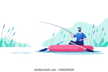 Fisherman with a fishing rod in the boat on the river. Fishing sport, outdoor summer recreation, leisure time. Vector illustration.
