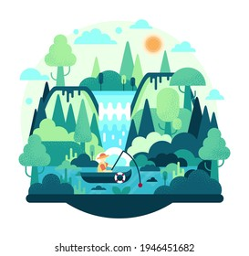 Fisherman with a fishing rod in the boat on the lake. Flat cartoon illustration. A man is resting in nature, fishing in a pond among green trees and next to a waterfall.
