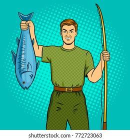 Fisherman with fishing rod and fish caught pop art retro vector illustration. Comic book style imitation.