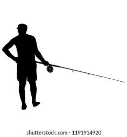 Fisherman and fishing rod isolated on white background