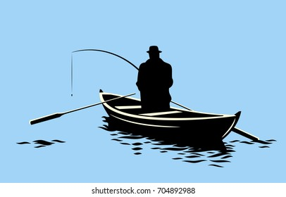 A fisherman with a fishing rod on a boat in the middle of the lake