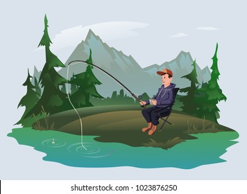 Fisherman with a fishing rod sitting in chair on the shore of a forest lake. Active outdoor recreation. Isolated vector illustration.