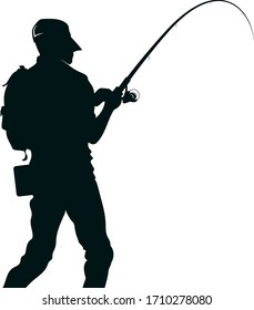 Fisherman with fishing rod in special equipment silhouette for fishing