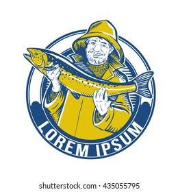 Fisherman. Fishing vector logo. fisherman or fish icon. Trout fishing. Fisherman with big fish