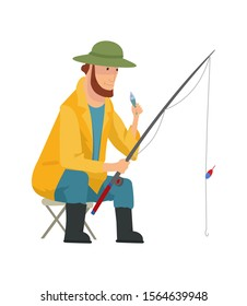 Fisherman flat icons. Fishing people with fish and equipment vector set. Fishing equipment, leisure and hobby catch fish illustration.