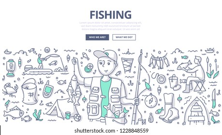 Fisherman holding a catch and rod. Doodle concept of fishing for web banner, hero images and printing materials