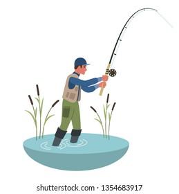 Fisherman Holding Fishing Rod. Flat style colorful Cartoon illustration.