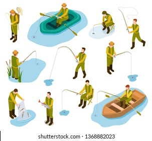 Fisherman isometric. Fishing in river pond sea tackle rubber fish bucket boat fishing rod 3d isometric vector set