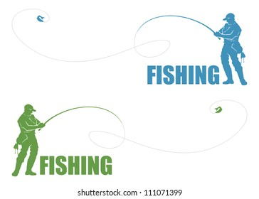 Fisherman label - vector illustration
