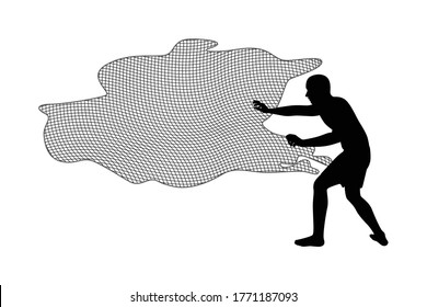 Fisherman with net for catching fish silhouette vector