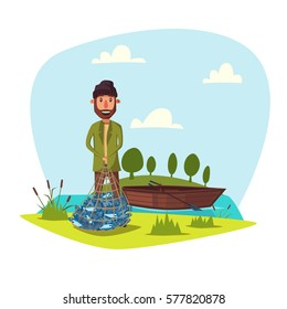 Fisherman with net of fish. Happy fisherman with fishing rod and wooden boat at lake or river. Fishery outdoor weekend adventure weekend adventure. Vector happy fisher with beard