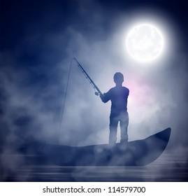 Fisherman on the boat; night, fog. Eps 10