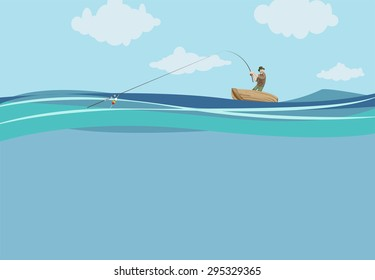 Fisherman on a boat reeling in a fish, vector illustration
