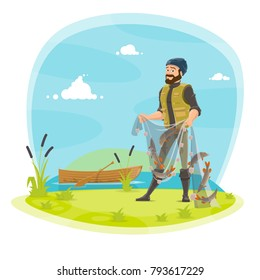 Fisherman on fishing with fish catch in net. Vector flat design of fisher man in rubber boots at lake or river and boat holding fish catch on rod and tackles with pike, crucian or trout