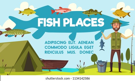 Fisherman on fishing with rod and fish catch on hook at lake or river. Vector cartoon fisher man, camping tent and boat with tackles for trout, perch or pike and salmon fishing