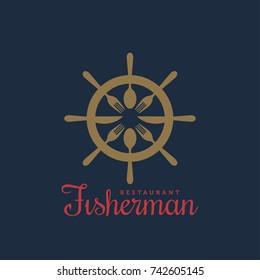 Fisherman Restaurant Logo. Seafood menu vector symbol. Fish Restaurant Logo Template. Nautical Hand wheel Emblem