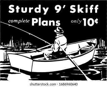 Fisherman In Rowboat - Build Your Own Sturdy Skiff