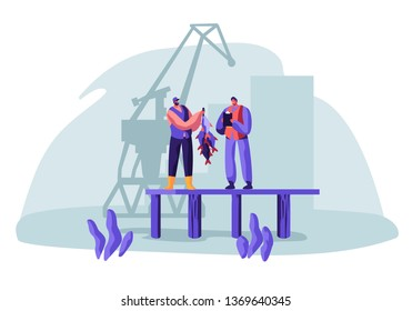 Fisherman Show Fish Haul to Customer Standing on Pier with Loading Crane on Background. Buyer Watching Fishery Catch in Dock from Hand of Fisher Man. Fishing Industry. Cartoon Flat Vector Illustration