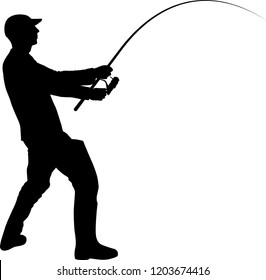 fisherman silhouette with fishing rod